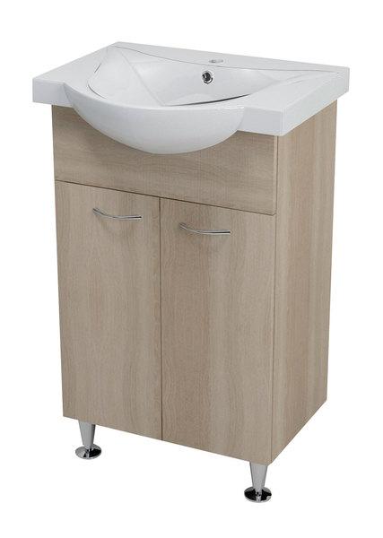 Aqualine KERAMIA FRESH mosdótartó szekrény, platina tölgy 51x74x34cm (50058) + ZARA mosdó, kerámia 54x44,5cm (10055)