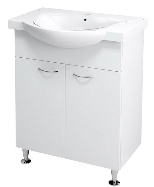 Aqualine KERAMIA FRESH Mosdótartó szekrény, fehér 60,5x74x34 cm (50063)  + ZARA mosdó, kerámia 65,4x46cm (10065)