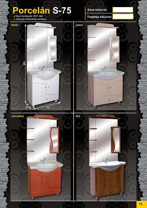 GUIDO PORCELÁN S-75 Fürdőszobaszekrény komplett