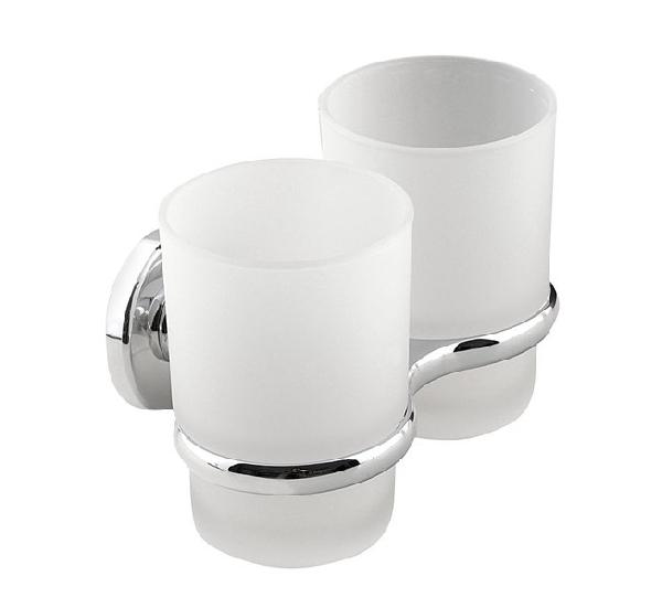 Aqualine SAMBA dupla pohártartó, tejüveg (SB105)