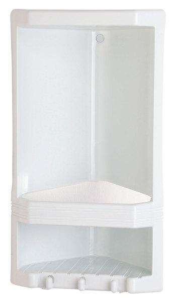 Aqualine JUNIOR sarokpolc zuhanyzóba, 189x385x139 mm, ABS fehér (8079)