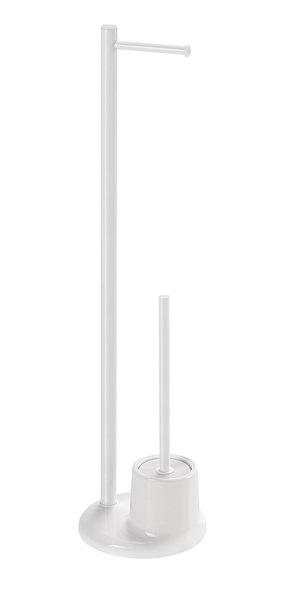 AQUALINE WHITE LINE Álló WC-papírtartó kefével, fehér (MM32)