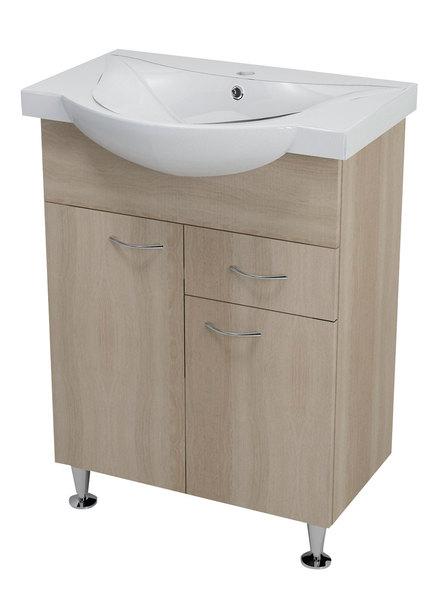 Aqualine KERAMIA FRESH mosdótartó szekrény, platina tölgy 60,5x74x34cm (50066) + ZARA mosdó, kerámia 65,4x46cm (10065)