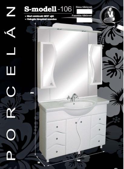 GUIDO PORCELÁN S-100 Fürdőszobaszekrény komplett