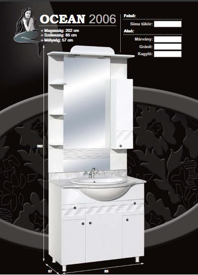 Guido Ocean 2006 komplett fürdőszoba bútor márványlappal