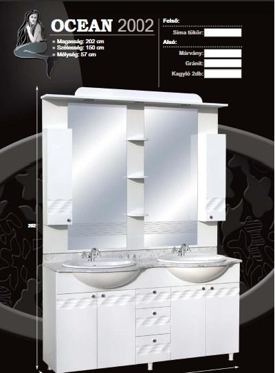 Guido Ocean 2002 komplett fürdőszoba bútor márványlappal