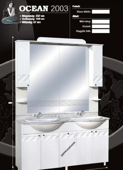 Guido Ocean 2003 komplett fürdőszoba bútor márványlappal mosdókagylóval