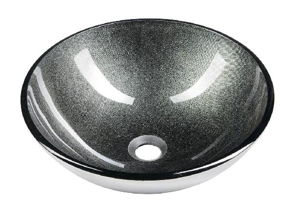Sapho BEAUTY SKIN üveg mosdó, átmérő: 42cm, metál szürke 2501-16