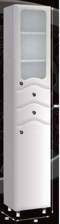 """Guido """"S"""" MODELL 1010 üveges álló fürdőszoba szekrény"""