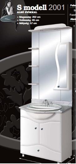 """Guido """"S"""" MODELL 205 komplett fürdőszoba bútor alsó fiókkal"""