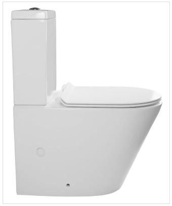 PACO WC RIMLESS kombi alsó/hátsó kifolyású, ülőkével (Soft Close), tartállyal, króm,duálgombos öblít