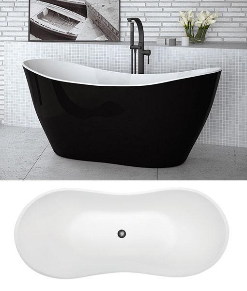Besco VIYA BLACK&WHITE szabadonálló kád 160x70cm