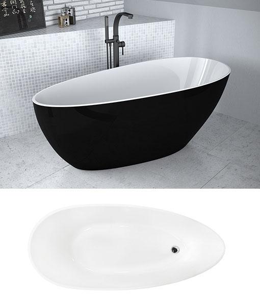 Besco KEYA BLACK&WHITE szabadonálló kád 165x70cm