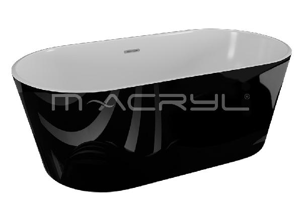 M-acryl VICTORY szabadon álló KÁD 160x80 + ELŐLAP + LÁB (fekete)