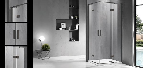 Wellis Murano két nyílóajtós 90x90 szögletes zuhanykabin - matt fekete