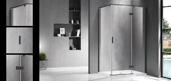 Wellis Palmaria egy nyílóajtós 120x90 szögletes zuhanykabin - matt fekete