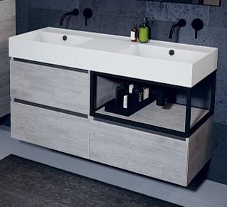 Riho LIVIT GLAZE TOP fürdőszobabútor 120x56cm (unit46) - matt fekete dupla mosdó,csaplyuk nélkül