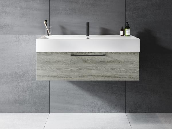 Riho LIVIT GLAZE TOP fürdőszobabútor 80x28cm (unit1) - matt fekete mosdó