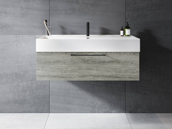 Riho LIVIT GLAZE TOP fürdőszobabútor 100x28cm (unit1) - matt fekete mosdó