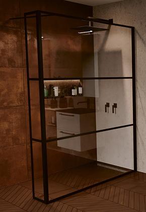 RIHO GRID GB402 zuhanyfal 140x200cm - matt FEKETE keretes