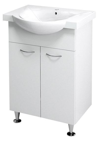 Aqualine KERAMIA FRESH mosdótartó szekrény, fehér 51x74x34cm (50057) + ZARA mosdó, kerámia 54x44,5cm (10055)