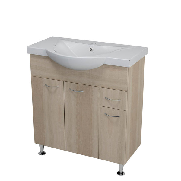 Aqualine KERAMIA FRESH mosdótartó szekrény, platina tölgy 74,5x74x34,5cm (50083) + ZARA mosdó, kerámia 79,5x46cm (10080)