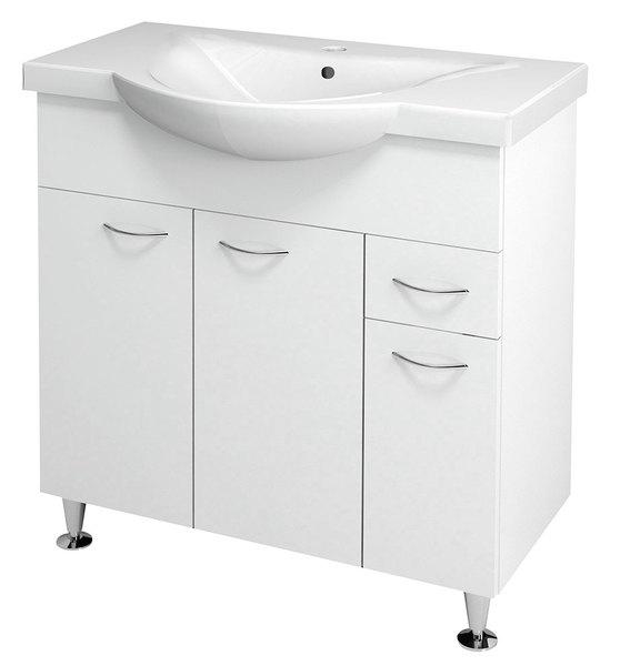 Aqualine KERAMIA FRESH mosdótartó szekrény, fehér 74,5x74x34,5cm (50082) + ZARA mosdó, kerámia 79,5x46cm (10080)