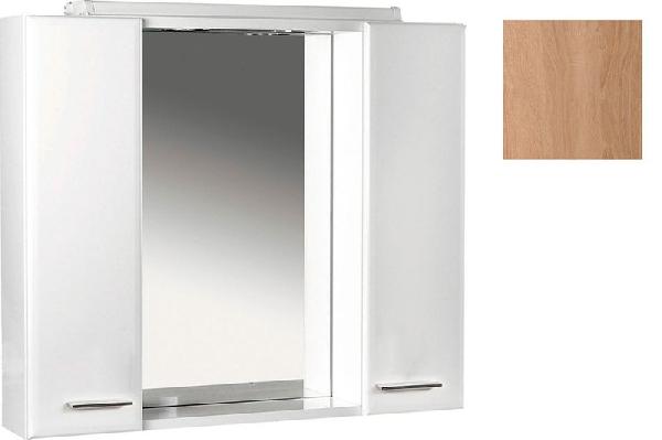 Aqualine KERAMIA FRESH tükrös szekrény halogén világítással, platina tölgy 70x60x14 cm (45029)