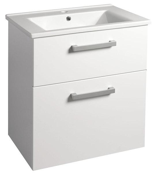 Aqualine VEGA mosdótartó szekrény 62x72,6x43,6 cm, 2 fiókos, fehér (VG063) + ZUNO mosdó 65x45 cm (9065)