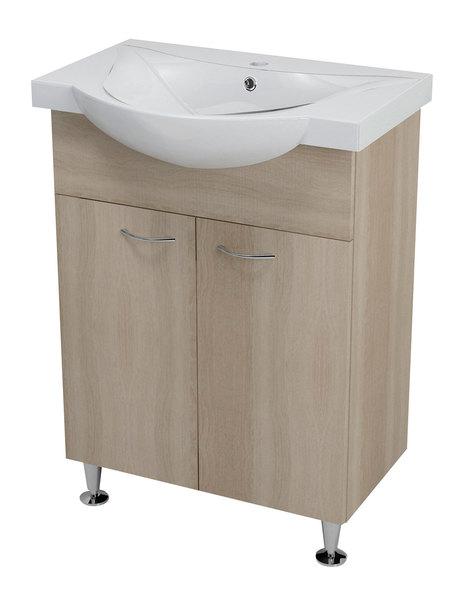 Aqualine KERAMIA FRESH mosdótartó szekrény, platina tölgy 60,5x74x34 cm (50065) + ZARA mosdó, kerámia 65,4x46cm (10065)