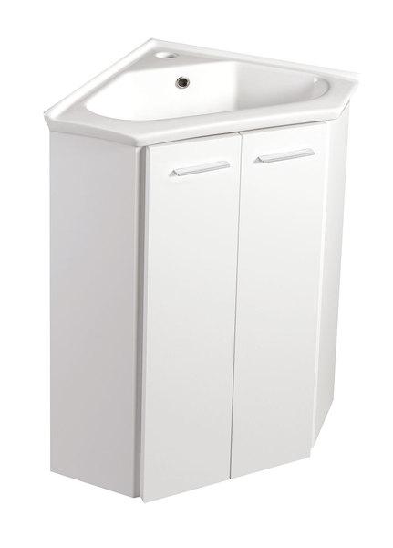 Aqualine ZOJA mosdótartó szekrény, fehér 39x74x39cm + sarokmosdó, kerámia 41x41 cm