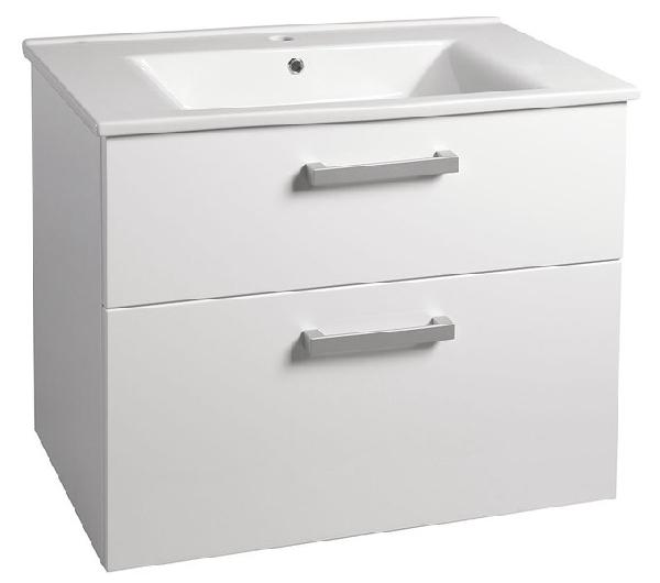 Aqualine VEGA mosdótartó szekrény 82x67,6x43,8cm, 2 fiókos, fehér (VG083) + ZUNO mosdó 85x45 cm (9085)