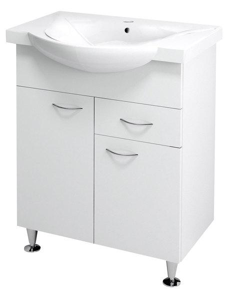 Aqualine KERAMIA FRESH mosdótartó szekrény, fehér 60,5x74x34cm (50064)+ ZARA mosdó, kerámia 65,4x46cm (10065)