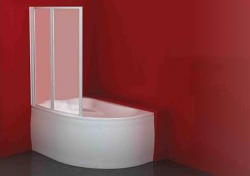 Kolpa San Quat TP108 140*108 osztott kádparaván polisztirol betéttel Lulu, Voice fürdőkádhoz