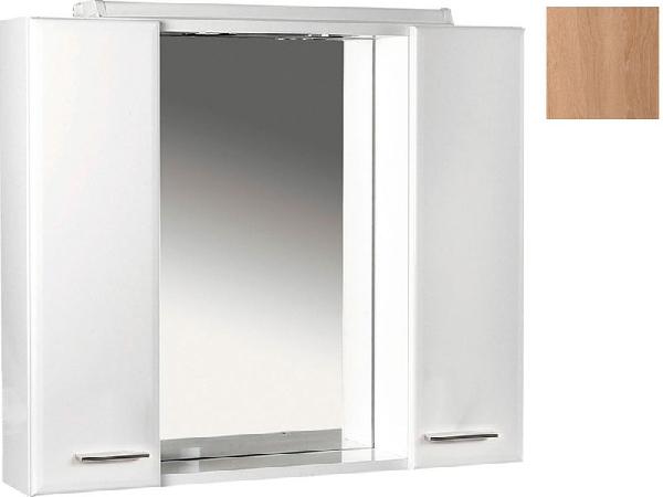 Aqualine KERAMIA FRESH tükrös szekrény halogén világítással, platina tölgy, 60x60x14 cm